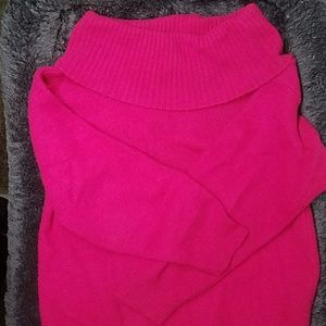 Cowlneck Hot Pink Sweater